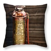 Fireman - Vintage Fire Extinguisher Throw Pillow