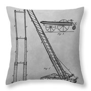 Fireman's Hydraulic Lift Patent Drawing Throw Pillow