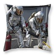 Firemen Confirm A Simulated Fire Throw Pillow