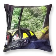 Firemen - Helmet Inside Cab Of Fire Truck Throw Pillow by Susan Savad