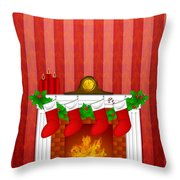 Fireplace Christmas Decoration Wth Stockings And Wallpaper Throw Pillow