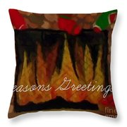 Fireplace - Seasons Greetings Throw Pillow