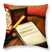 Fireside Chats With Fdr 05 With A Pipe And Book Throw Pillow