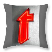 Firestone Building Red Neon T Throw Pillow