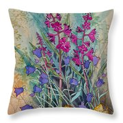 Fireweed And Bluebells Throw Pillow