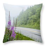 Fireweed And Fog Scenic Highway Throw Pillow