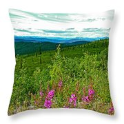 Fireweed And Mountains From Top Of The World Highway-yukon Throw Pillow