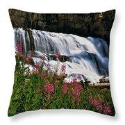 Fireweed Blooms Along The Banks Of Granite Creek Wyoming Throw Pillow