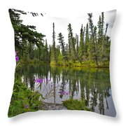 Fireweed On The Clearwater Throw Pillow