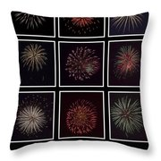 Fireworks - Black Background Throw Pillow