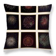 Fireworks - White Background Throw Pillow