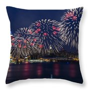 Fireworks And Full Moon Over New York City Throw Pillow