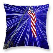 Fireworks At Iwo Jima Memorial Throw Pillow by Francesa Miller
