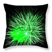 Fireworks In Green Throw Pillow