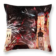 Fireworks In Munich Throw Pillow