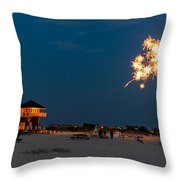 Fireworks On Ther Beach Throw Pillow