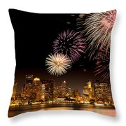 Fireworks Over Boston Harbor Throw Pillow by Susan Cole Kelly