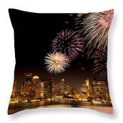 Fireworks Over Boston Harbor Throw Pillow