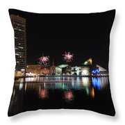 Fireworks Over Downtown Baltimore Throw Pillow
