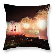 Fireworks Over Kuwait City Throw Pillow