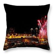 Fireworks Over The Kansas City Plaza Lights Throw Pillow