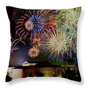 Fireworks Over The Museum Throw Pillow