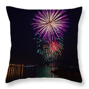 Fireworks Over The York River Throw Pillow by James Drake