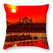 Firey Dawn Over The Marsh Throw Pillow