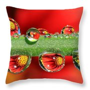 Firey Drops Throw Pillow by Gary Yost