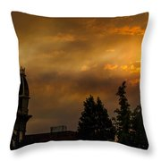 Firey Sunset Over Grants Pass Throw Pillow