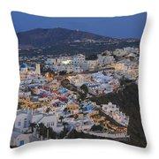 Firostefani At Night Santorini Cyclades Greece  Throw Pillow