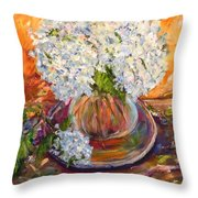 First Bouquet Throw Pillow by Barbara Pirkle