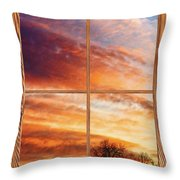First Dawn Barn Wood Picture Window Frame View Throw Pillow