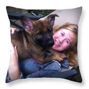 Puppy's First Day Home Throw Pillow