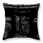 First Electric Guitar 2 Patent Art  1937 Throw Pillow