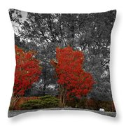First Fall Color In Red Throw Pillow