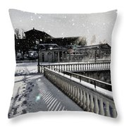 First Footsteps In The Snow Throw Pillow