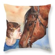 Horse Painting Of Paint Horse And Girl First Kiss Throw Pillow