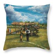 First Landing At Shepherd's Field Throw Pillow