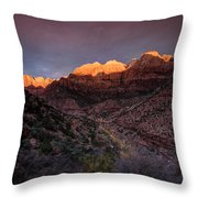 First Light 2 Zion National Park Throw Pillow