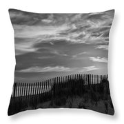 First Light At Cape Cod Beach Bw Throw Pillow