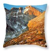 First Light At Longs Peak Throw Pillow
