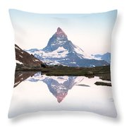 First Light On The Summit Of Matterhorn Throw Pillow