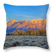 First Light On The Tetons Limited Edition Panorama Throw Pillow