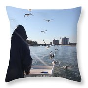 First Mate Filleting With Some Friends Throw Pillow