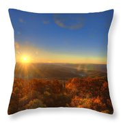 First Morning Light Striking Top Of Trees Throw Pillow