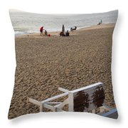 First On The Beach At Bethany Beach In Delaware Throw Pillow