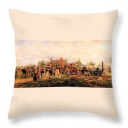 First Railroad Train On The Mohawk And Hudson Throw Pillow