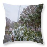 First Snow Of The Season Throw Pillow