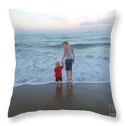 First Time At The Beach Throw Pillow